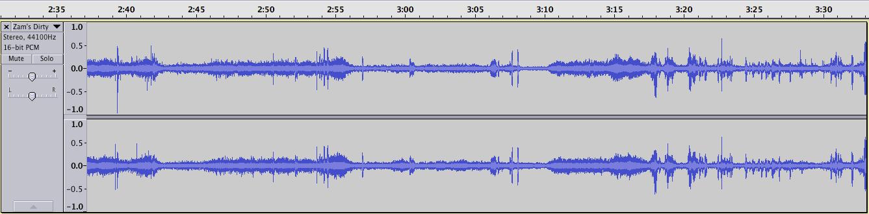 Figure 1 : Représentation de l'intensité du signal de 00:02:37 à 00:03:33 à partir du début de la scène.
