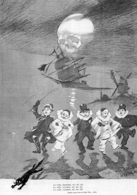 Figure 2 : Adolphe Willette, « Enfin, voilà le choléra », paru dans <em>Le Chat Noir</em> en 1882.