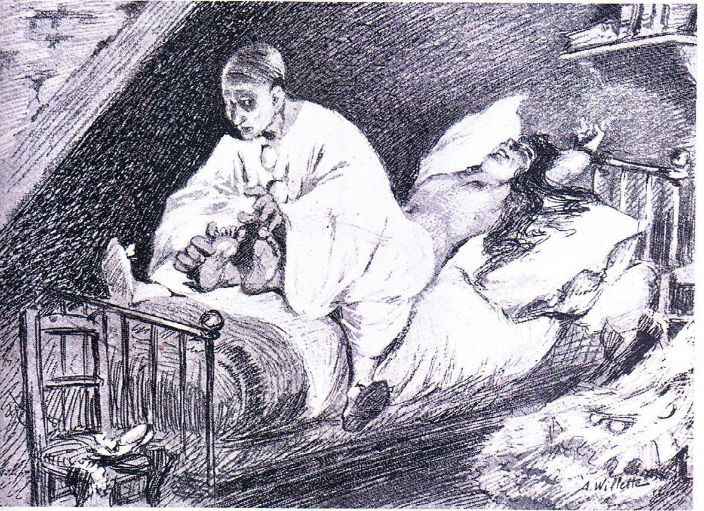 Figure 3 : Adolphe Willette, « Pierrot assassin de sa femme », paru dans <em>Le Pierrot</em> du 7 décembre 1888.