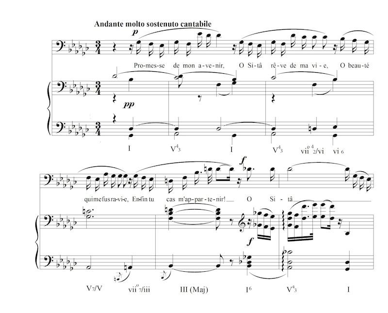 """Figure 7: Scindia's arioso """"Promesse de Mon Avenir"""" from Massenet's <em>Le Roi de Lahore</em> (1876), mm. 4-9."""