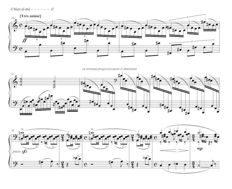 Figure 16 : Albert Roussel, « Adieux », op. 8, n<sup>o</sup> 1 (<em>Quatre poèmes</em>, op. 8, 1907) : passion (mes. 30-34) et répit (mes. 35-40) dans l'interlude au piano qui suit le moment où les deux amants se retrouvent – transcription.