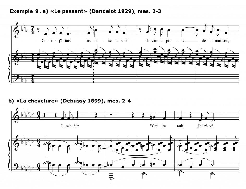 Figure 15 : Georges Dandelot, « Le passant », mes. 2-3 (Dandelot 1929), et Claude Debussy, « La chevelure », mes. 2-4 (Debussy 1899).