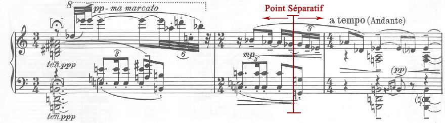 Figure 15a : Karol Szymanowski, <em>Masques</em>, op. 24 (1915-1916), « Tantris le bouffon » (no 2), mes. 103-105, mode de <em>fa</em> sur <em>sol</em> bémol et mode acoustique sur <em>ré</em> bémol.