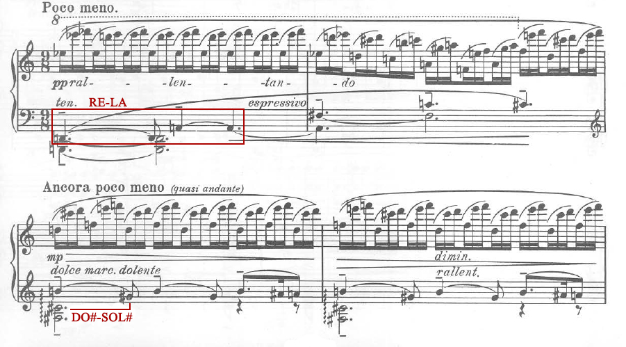 Figure 19 : Karol Szymanowski, <em>Masques</em>, op. 24 (1915-1916), « Tantris le bouffon » (no 2), mes. 18-21, deux quintes à distance de demi-ton.