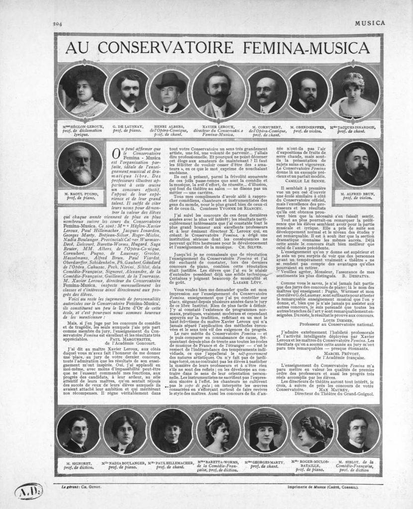 Figure 7: Les professeurs du Conservatoire Femina-Musica dans <em>Musica</em>, n<sup>o</sup>109, 1911, p.204.