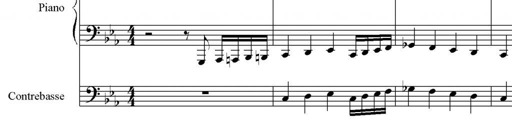 Figure 2 : Astor Piazzolla, Introducción a héroes y tumbas, de 03:09 à 03:14, noire ≈ 128, transcription approximative de l'auteur (enregistrement sorti en 1963). Écouter, de 03:08 à 03:15.