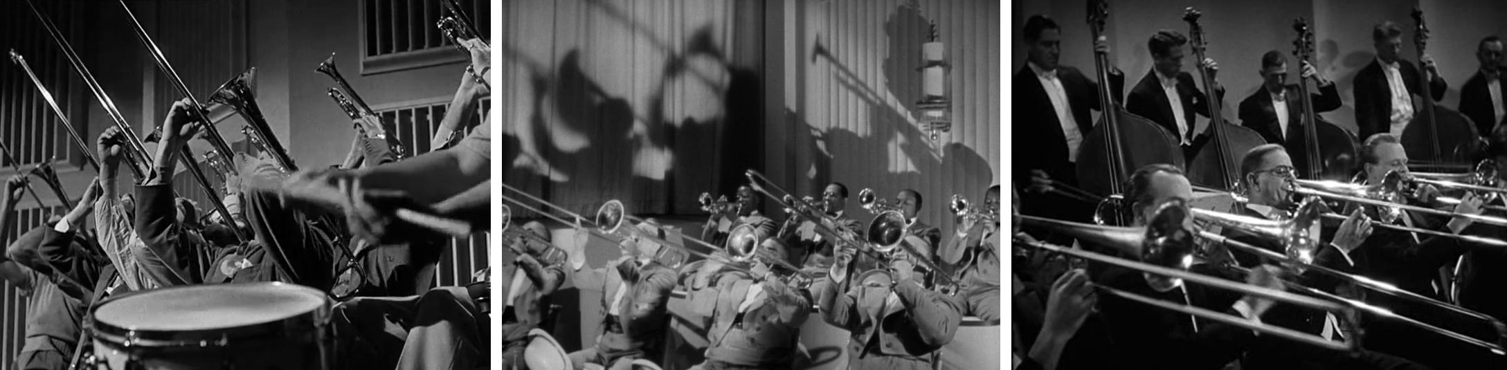 Figures 7a, 7b et 7c : Variations sur les lignes de trombones : a) l'orchestre de Glenn Miller dans « People Like You and Me» (Archie Mayo, <em>Orchestra Wives</em>, 1942) ; b) l'orchestre de Cab Calloway dans «Jumpin' Jive» (Andrew L. Stone, <em>Stormy Weather</em>, 1943) ; c) l'orchestre philharmonique de Philadelphie dirigé par Leopold Stokowski (Henry Koster, <em>One Hundred Men and a Girl</em>, 1937).