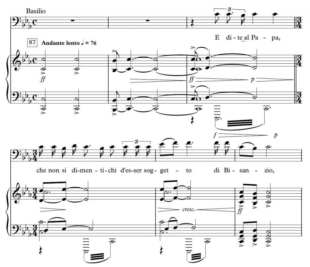 Example 5: Ottorino Respighi, <em>La fiamma</em> (1933), Basilio's entrance, no 87, mes. 1-6, p. 142 © Casa Ricordi [2000].