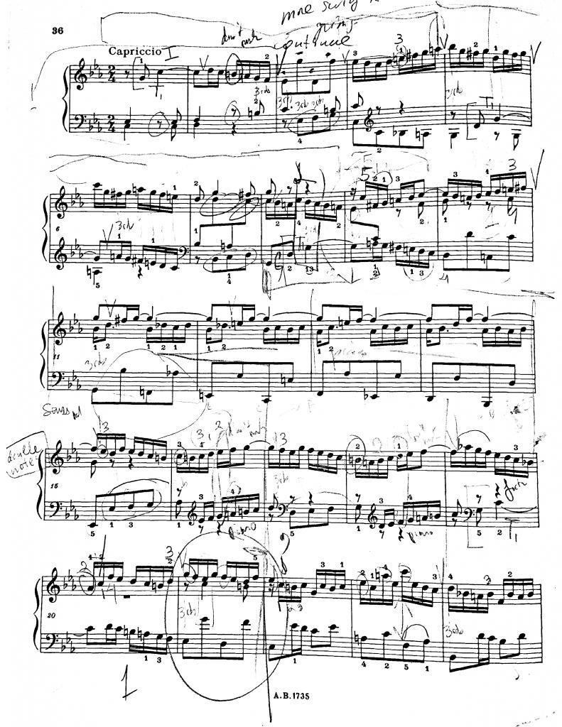 Figure 2: Partition originale utilisée par le pianiste (The Associated Board of the Royal Schools of Music, éditée par Walter Emery, 1981).