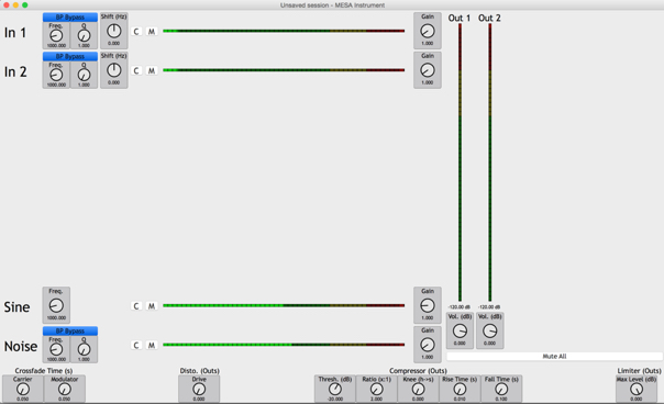 Figure 6: Capture d'écran du logiciel MESA v3.5; conception: Francis Lecavalier.