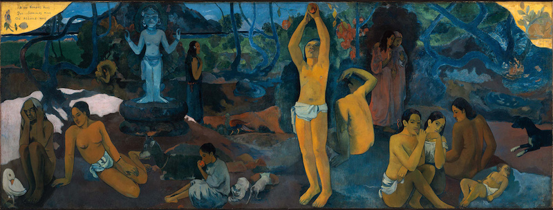 Figure 6 : Paul Gauguin, <em>D'où venons-nous ? Que sommes-nous ? Où allons-nous ?</em>, 1897-1898. Huile sur toile, 139,1 x 374,6 cm. Boston, Musée des beaux-arts de Boston. Source : Museum of Fine Arts Boston, sous licence Domaine public via <em>Wikimedia Commons</em>.