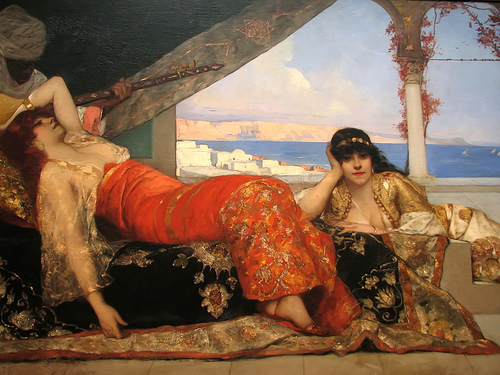 Figure 7 : Benjamin-Constant, <em>La favorite de l'émir</em>, vers 1879. Huile sur toile, 142,2 x 221 cm. Signé b.g. : Benj-Constant. Washington, National Gallery of Art. Courtesy of the United States Naval Academy Museum. 2010.95.1.