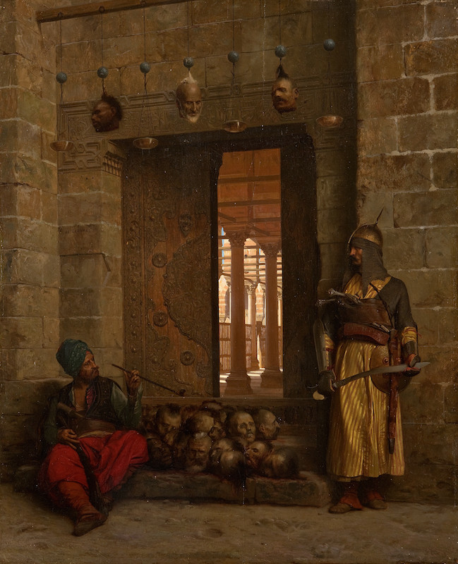 Figure 1: Jean-Leon Gérôme, <em>The Doorway to the Mosque El Assaneyn in Cairo where the Heads of the Rebel Beys Were Exposed by Salek-Kachef</em>, 1866. Oil on panel, 54 x 43,8 cm. © Orientalist Museum, Doha. OM. 184.
