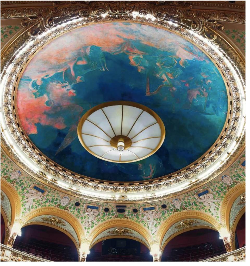 Figure 12 : Benjamin-Constant, <em>Plafond de la salle de l'Opéra Comique de Paris</em>, 1898. Huile sur toile marouflée sur plafond, D. 11 m. Paris, Théâtre national de l'Opéra-Comique. © Nicolas Hoffmann.