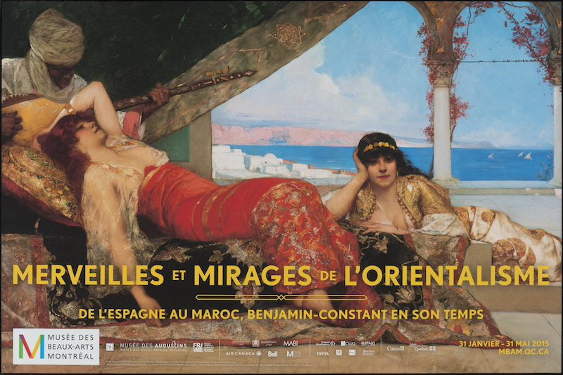 Figure 2 : Publicité de l'exposition Merveilles et mirages de l'orientalisme. De l'Espagne au Maroc, Benjamin-Constant en son temps. Toile : Benjamin-Constant, La favorite de l'émir, vers 1879. Huile sur toile, 142,2 x 221 cm. Signé b.g. : Benj-Constant. Washington, National Gallery of Art. Courtesy of the United States Naval Academy Museum. 2010.95.1. Photo MBAM, Christine Guest. Vidéo de la publicité : trame sonore : Glenn Sharp et Paul Cheneour, Taqseen de l'album Arabian Soundscapes, volume 1, 2012).