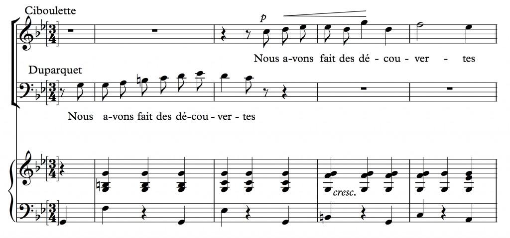 Reynaldo Hahn (1923), « Nous avons fait un beau voyage », air tiré de l'opéra <em>Ciboulette</em>, mes. 111-115.