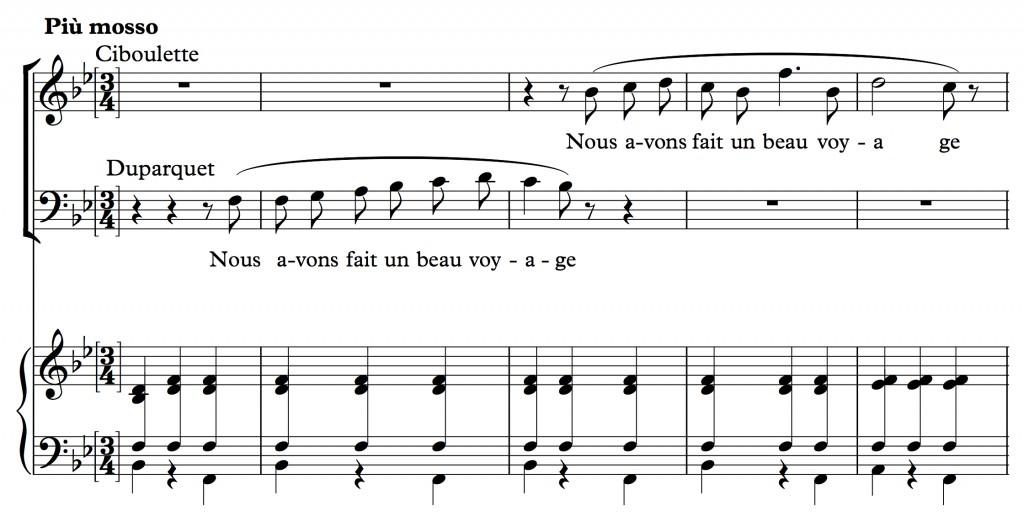 Reynaldo Hahn (1923), « Nous avons fait un beau voyage », air tiré de l'opéra <em>Ciboulette</em>, mes. 126-130.