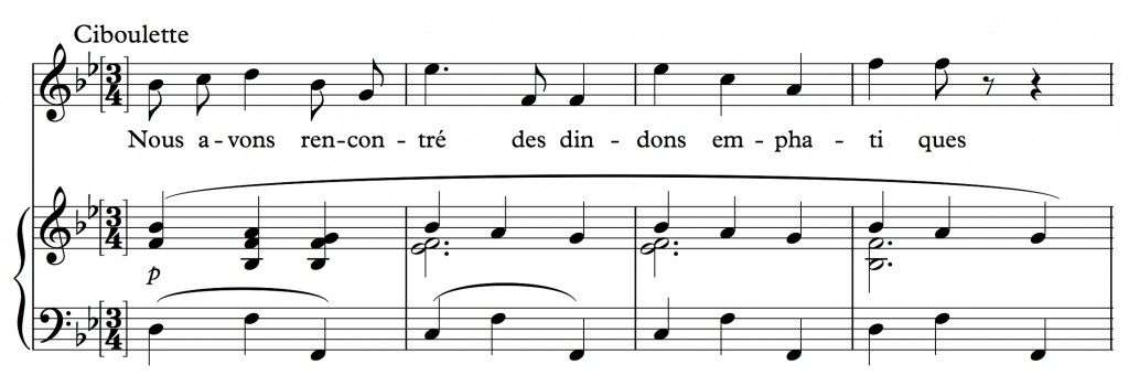 Reynaldo Hahn (1923), « Nous avons fait un beau voyage », air tiré de l'opéra <em>Ciboulette</em>, mes. 28-31.