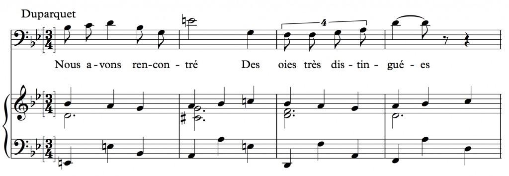 Reynaldo Hahn (1923), « Nous avons fait un beau voyage », air tiré de l'opéra <em>Ciboulette</em>, mes. 36-39.