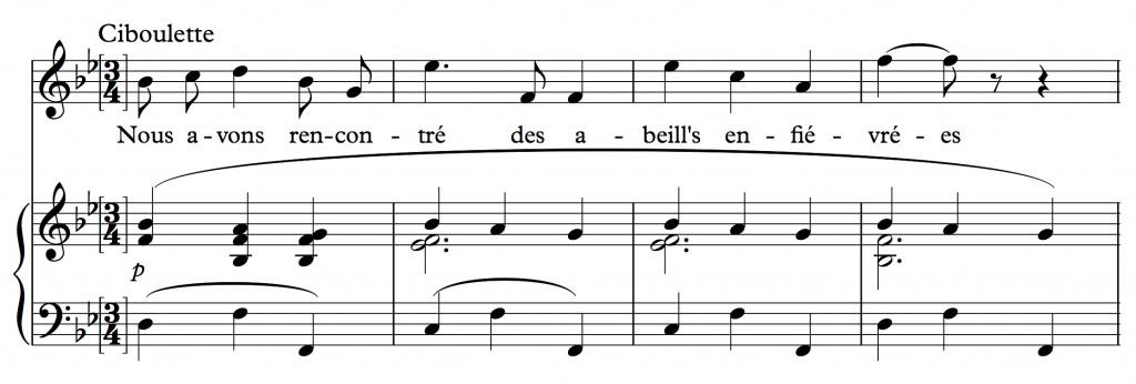 Reynaldo Hahn (1923), « Nous avons fait un beau voyage », air tiré de l'opéra <em>Ciboulette</em>, mes. 88-91.
