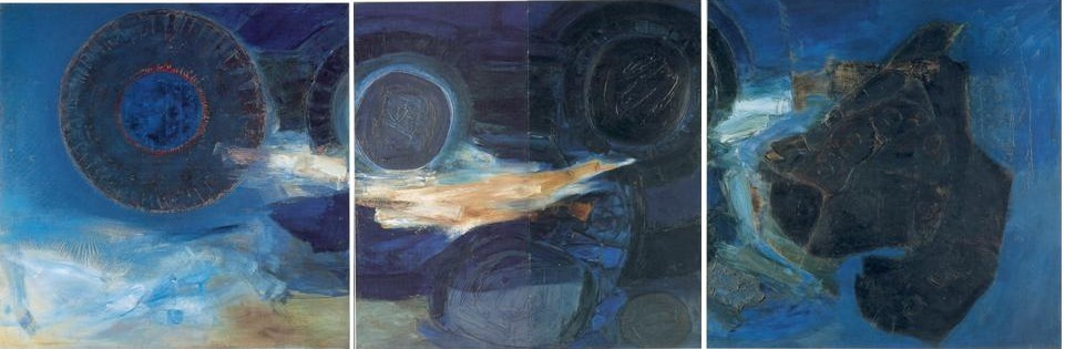 Figure 13 : Ceri Richards, <em>La cathédrale engloutie (augmentez progressivement)</em>, 1960-1961. Huile sur toile, 152 x 456 cm. National Museum of Wales, Cardiff.