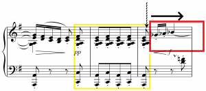 "Figure 5: ""Minstrels,"" bars 24-26, interruption marked by a squiggly arrow, unmarked accelerandi by a forward arrow."