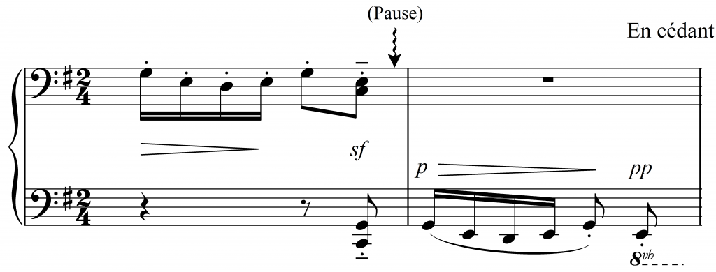"Figure 7: ""Minstrels,"" bars 33-34, unmarked interruptive pause indicated by a squiggly arrow."