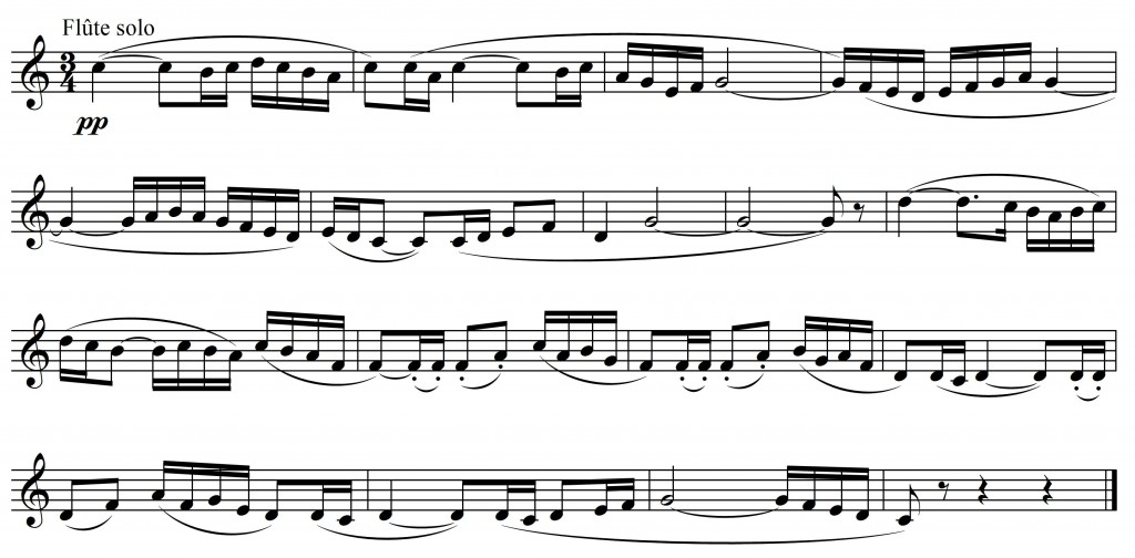 Exemple musical 5 : Maurice Ravel, <em>Boléro</em>, thème 1, mes. 5-21 – transcription.