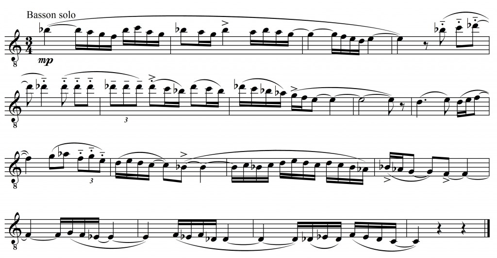 Exemple musical 6 : Maurice Ravel, <em>Boléro</em>, thème 2, mes. 47-51 – transcription.