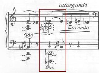 Figure 13a : Karol Szymanowski, <em>Masques</em>, op. 24 (1915-1916), « Tantris le bouffon » (n<sup>o</sup> 2), mes. 106, accord de neuvième altéré présentant les caractéristiques du mode acoustique.