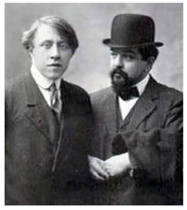 Figure 2: André Caplet, composer and conductor, and Claude Debussy, 1910.