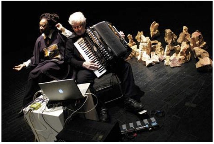 Figure 6: Pauline Oliveros (right) playing in Mexico City in 2006.