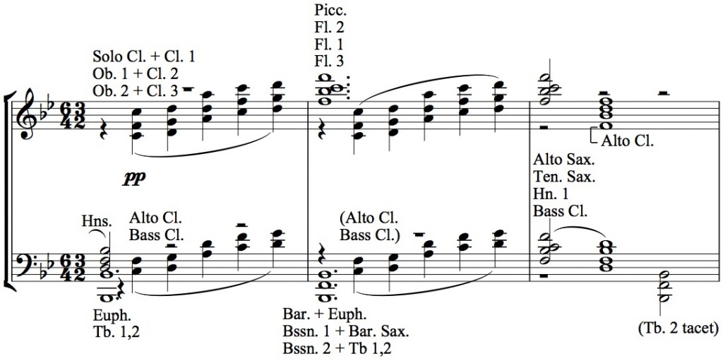 Figure 10b: Herbert L. Clarke, arrangement of <em>La cathédrale engloutie</em>, mm. 84-86.