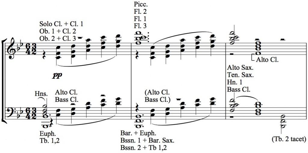 Figure 10b: Herbert L. Clarke, arrangement of <em>La cathédrale engloutie</em>, mm. 84-86.