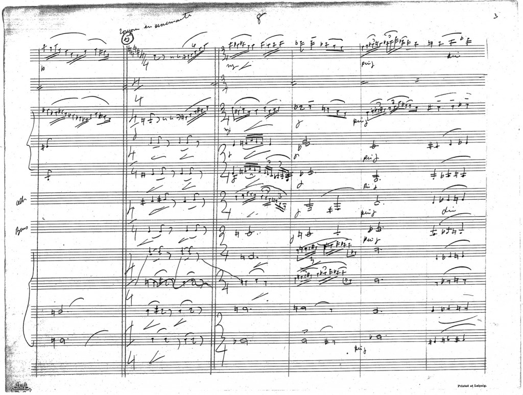 Figure 4: John Philip Sousa, eighth page of autograph score from the arrangement of <em>Prélude à l'après-midi d'un faune</em>.