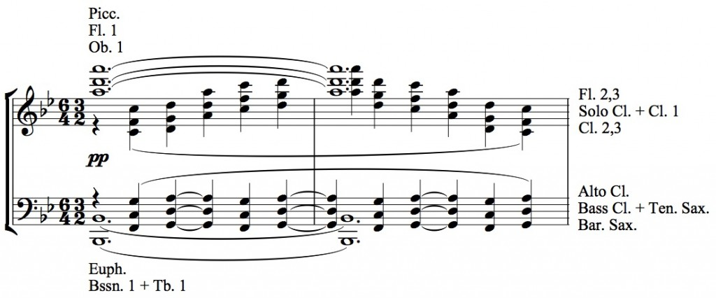 Figure 9: Herbert L. Clarke, arrangement of <em>La cathédrale engloutie</em>, mm. 14-15.