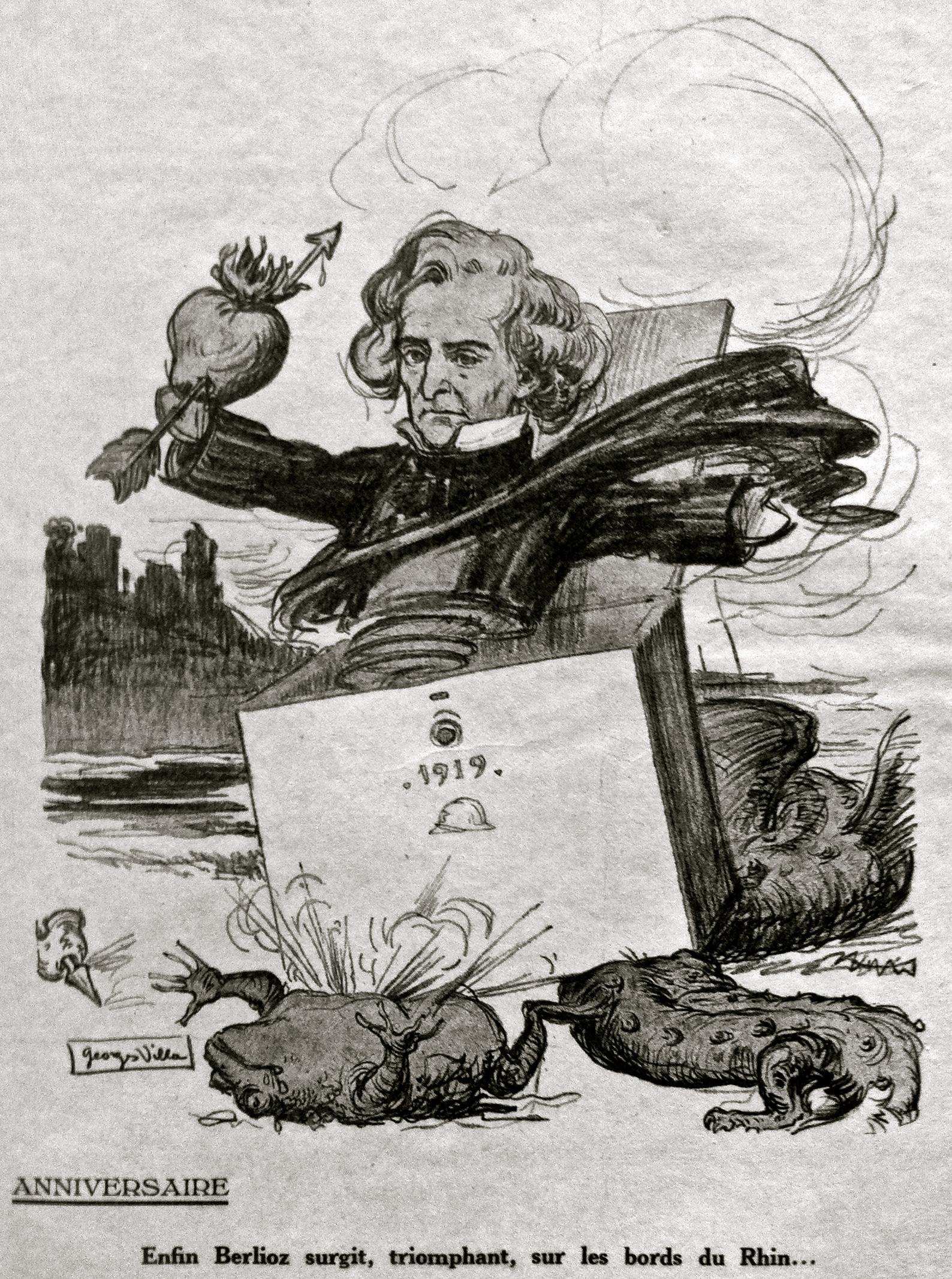Figure3b: Georges Villa, «Anniversaire. Enfin Berlioz surgit, triomphant, sur les bords du Rhin…», Le Courrier musical, vol.21, no6 (15mars 1919), n.p.