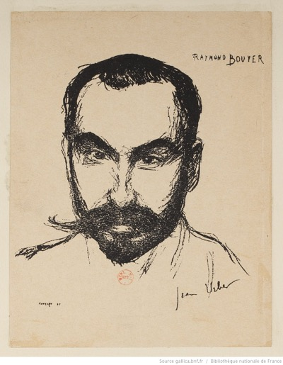Figure 1 : Jean Veber, <em>Raymond Bouyer</em>, lithographie, vers 1890. Disponible sur Gallica.