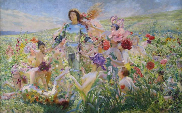 Figure 2 : Georges Rochegrosse, Le Chevalier aux fleurs (avant 1894), huile sur toile, 35 x 374 cm (Paris, Musée d'Orsay).