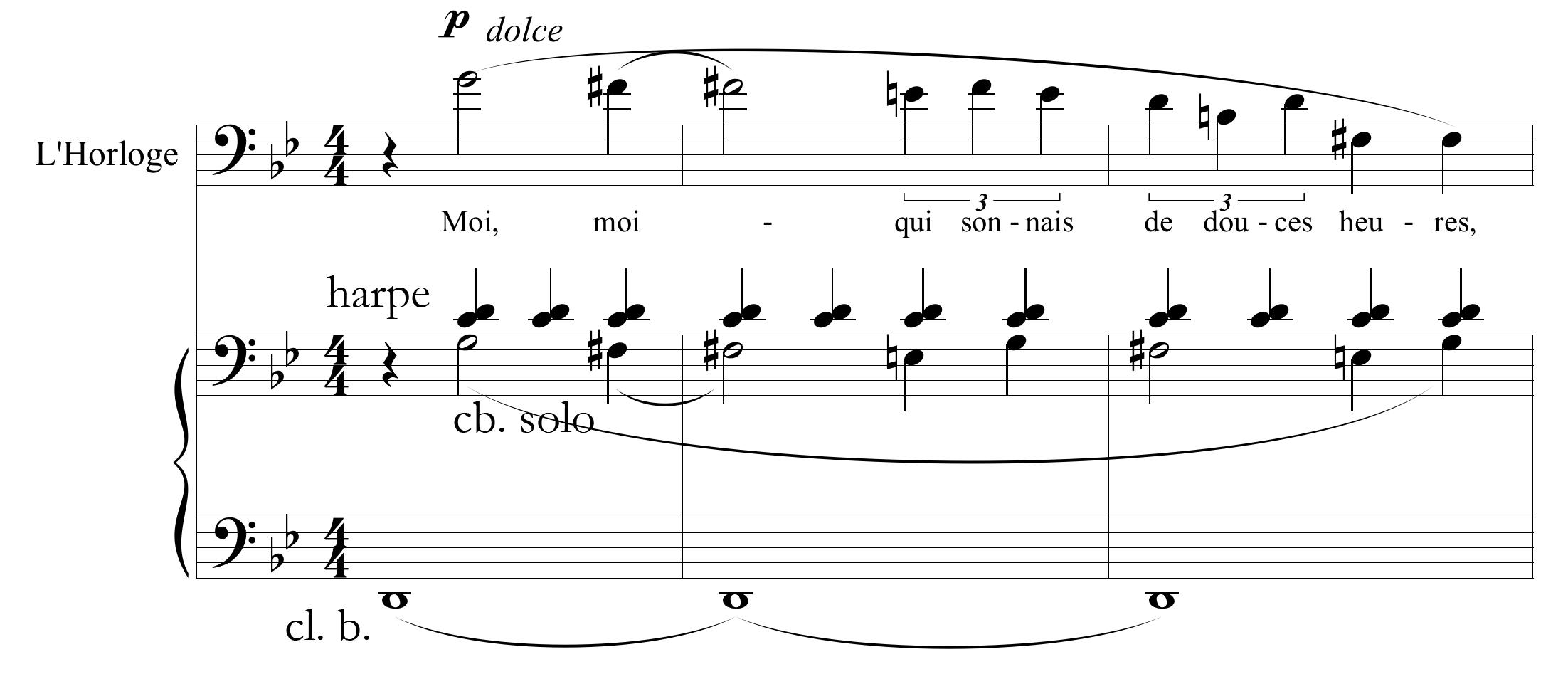 Figure 1 : Maurice Ravel, <em>L'enfant et les sortilèges</em>, « Ding, ding, ding », mes. 16-18.