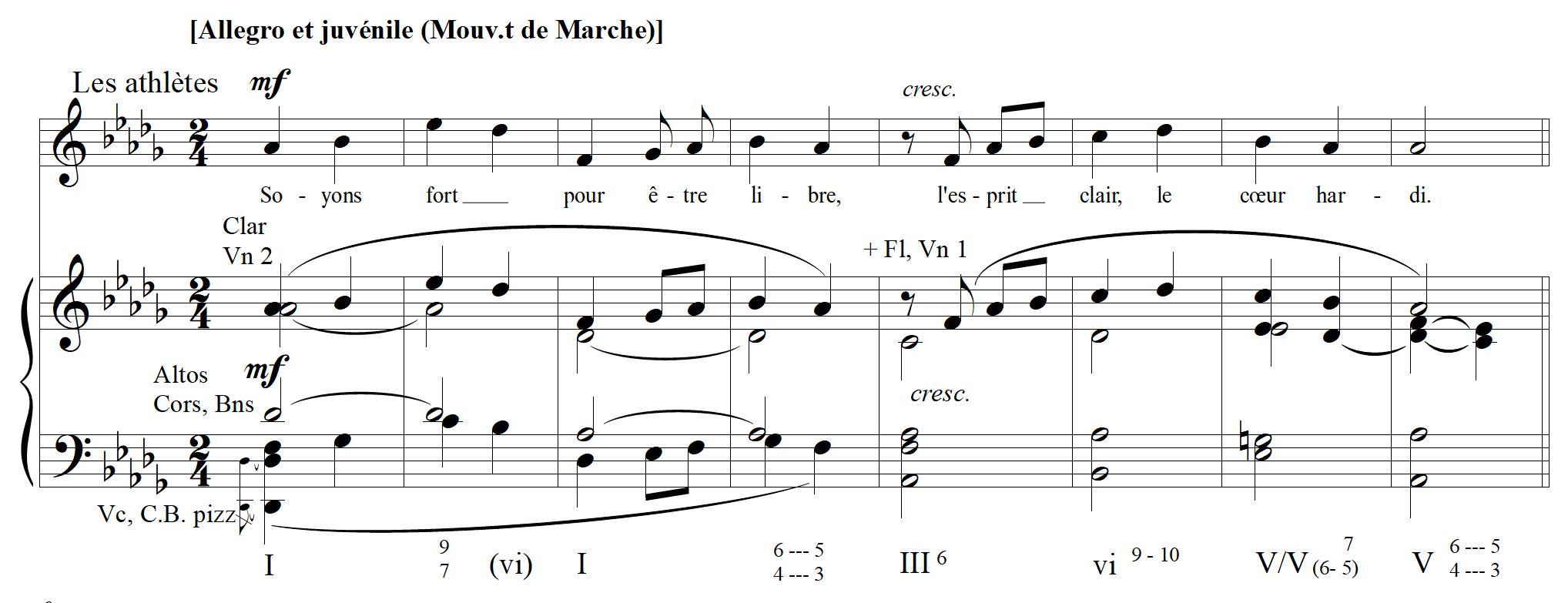 Figure10: Louis Vuillemin, Cortège d'athlètes, «Le salut des athlètes», mes.16-23 de la réduction pour chant et piano (Nantes, Jacques Vuillemin, 1922).