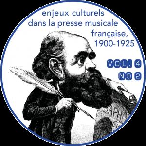 Couverture du vol. 4, n<sup>o</sup> 2 de la <em>Revue musicale OICRM</em> : « Enjeux culturels dans la presse musicale française, 1900-1925 ». Image : caricature de Charles Gounod par Firmin Gillot, d'après une charge d'Etienne Carjat publiée à la une du <em>Masque</em>, première année, n<sup>o</sup> 7, 25 avril 1867, disponible sur Gallica. Graphisme : Chloé Huvet.