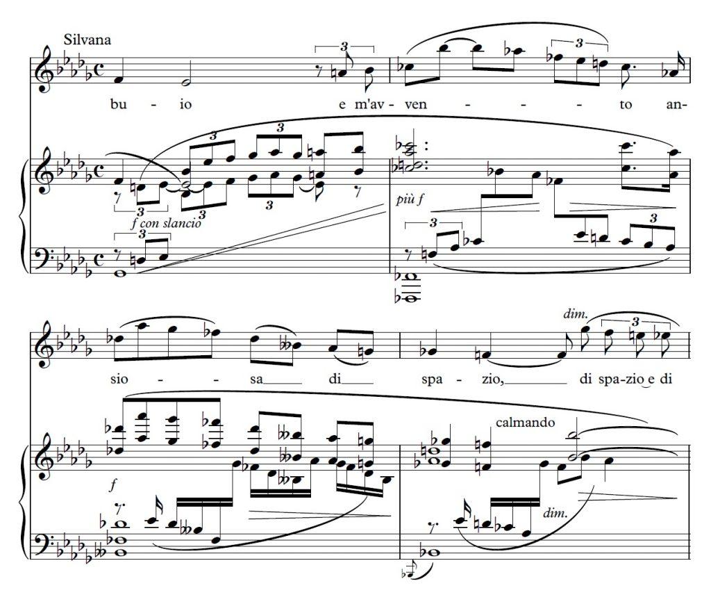 Example 7: Ottorino Respighi, <em>La fiamma</em> (1933), Silvana's melismatic vocal lines, no 16, mes. 8-11, p. 25 © Casa Ricordi [2000].