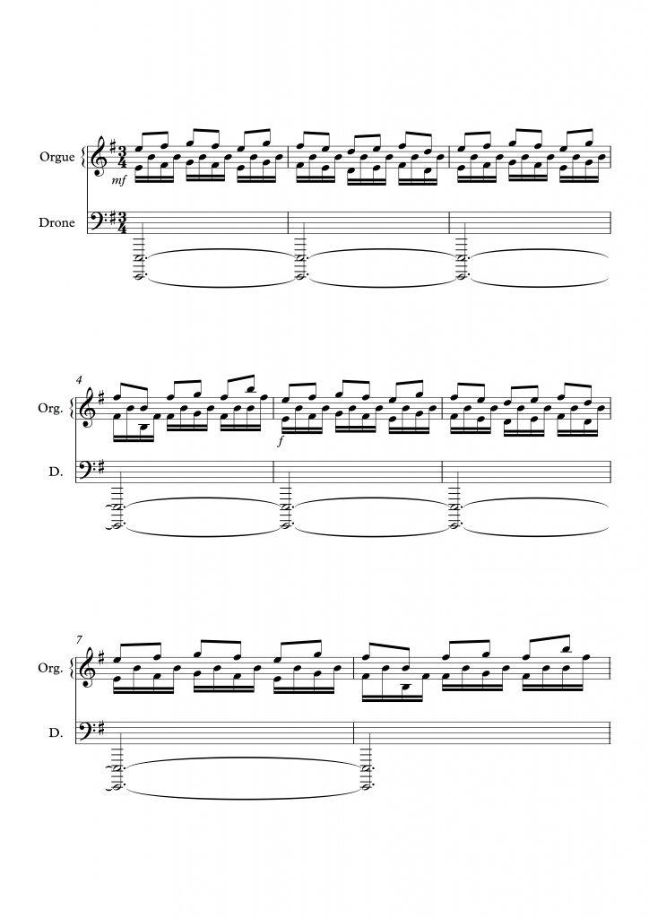 Exemple 2 : Hans Zimmer,<em> Interstellar</em>, <em>cue</em> « Coward », l'ostinato devient la mélodie principale. Transcription personnelle à partir de la bande originale (04:56-05:19).