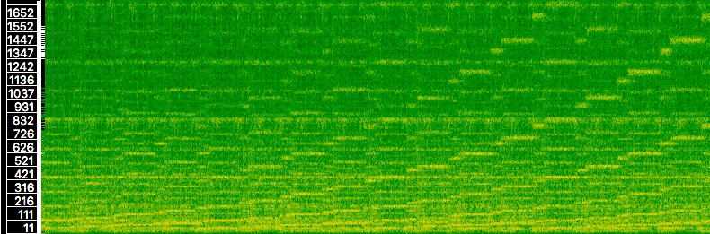 Exemple 9 : Sonagramme du <em>cue</em> « Supermarine » de 06:53 à 07:56 (échelle des fréquences linéaires).
