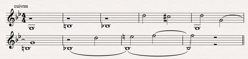 Figure 13 : Harry Gregson-Williams, <em>Total Recall</em>, scène de poursuite en voiture, motif aux cuivres qui accompagne l'ostinato de la figure 12. Transcription personnelle à partir du film (00:54:24-00:54:37).