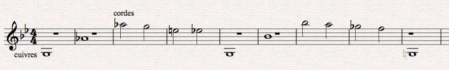 Figure9: Harry Gregson-Williams, <em>Total Recall</em>, scène de poursuite en voiture, stingers aux cuivres et motifs descendants aux cordes dans l'aigu. Transcription personnelle à partir du film (00:53:18-00:53:32).