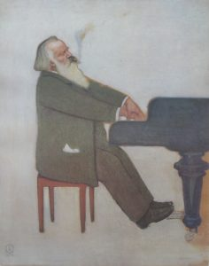 Figure 8 : Willy von Beckerath, <em>Brahms am Flügel</em>, 1896. Source : sous licence Domaine public, Wikimedia Commons.