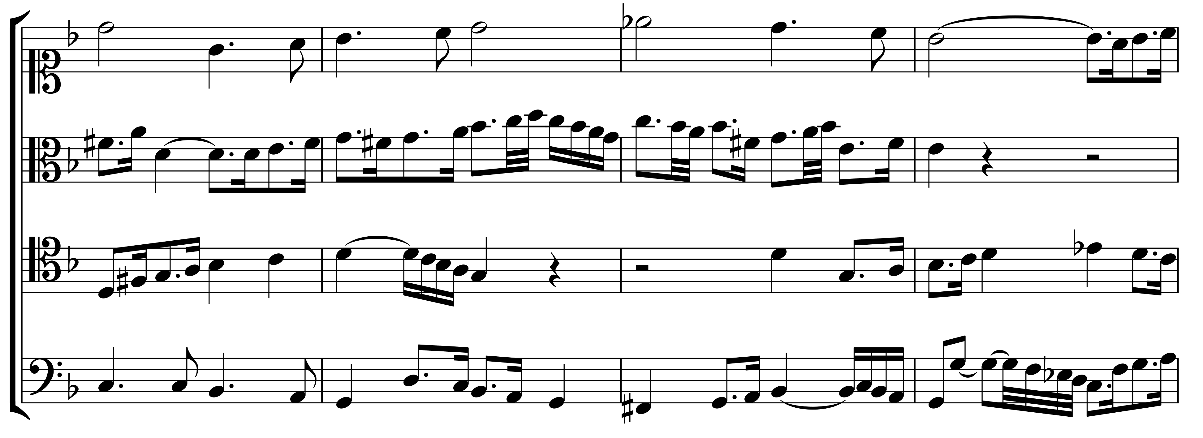 Figure 13b: <em>Contrapunctus</em> 6, bars 35–38 of the voices (reversion); fugues 12a, b and 13a, b.