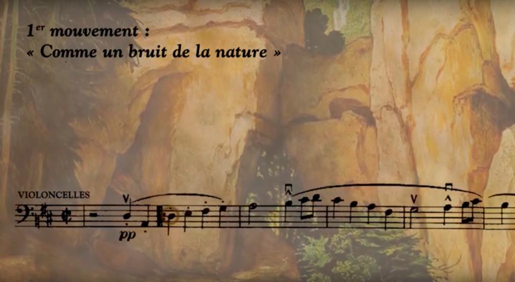Figure 12: Capture d'écran de la capsule vidéo sur la <em>Symphonie n<sup>o</sup>1</em> de Mahler; animation de la partition (01:53).
